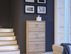 Triple Door Shoe Cabinet Slimline Storage Wenge, White or Sonoma Oak Finish- Nepo