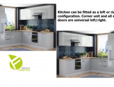 Light Dove Grey Gloss Kitchen Units Corner Set of 12 Cabinets 60cm Larder Oven Housing - Luna (STO-LUNA-SET-12UNITS-60SL-DK-SZ-SZP)