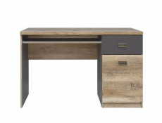 Urban 120cm Office Furniture Set Wall Display Unit and Desk with Storage Oak/Grey - Malcolm