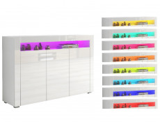 White High Gloss Sideboard Modern Unit Display Cabinet RGB LED Light - Lily (KOM3D+RGB)