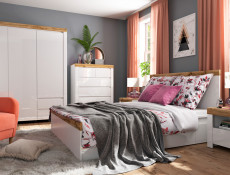 Scandinavian King Size 5-Piece Bedroom Furniture Set with Bed Chest Wardrobe White Gloss/Oak - Holten