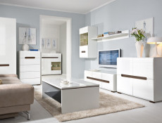 Square Small Contemporary Sideboard Cabinet White High Gloss - Azteca