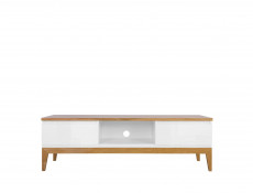 Scandinavian Living Room TV Cabinet Media Bench Storage Unit Wood White Gloss/Oak - Kioto (S425-RTV2S-BI/BIP/DNA-KPL01)