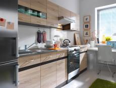 Modern Tall Larder Kitchen Cabinet Pantry 500 Cupboard Unit 50cm Left Wenge/Sonoma Oak - Junona (K22-D2D/50/195_L-WE/DSO/WE)