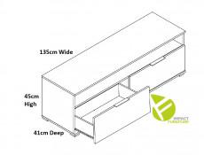 Modern Wide Media Table TV Stand Cabinet Unit White Gloss/Oak 135cm - Zele