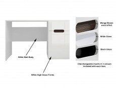 White Gloss Wide Office Study Desk with Drawer & White/Wenge/Black Gloss insert - Azteca Trio (S504-BIU1D1S/8/12-BI/BIP-KPL01)
