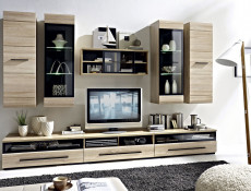 Modern Glazed 1-Drawer Living Room Media Bench TV Cabinet Storage Unit 100 cm Sonoma Oak - Fever (S182-RTV1S/3/10/S-DSO/CA-KPL01)