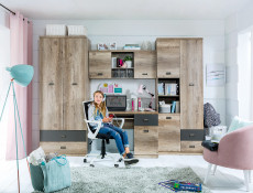 Urban Tall Bookcase Deep Storage Shelving Bookcase Unit with 2 Drawers Oak Effect and Grey Finish - Malcolm