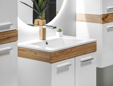 Wall Mounted Bathroom Furniture Set 500 Vanity Cabinet Sink Unit Tallboys White Gloss Oak finish - Aria