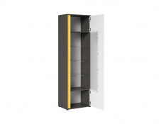 Tall Glass Display Cabinet Right Grey and White High Gloss with LED Lighting - Graphic (REG1WP)