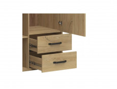 Modern Industrial Double Wardrobe Bedroom Storage Unit with Drawers Shelves and Hanging Rail Belarus Ash - Lara