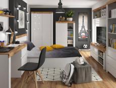 Scandinavian Free Standing 2-Door Double Wardrobe with Drawer White Gloss/Oak - Holten (S440-SZF2D1S-BI/DWO/BIP-KPL01)