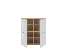 Modern Square Small 4-Door Sideboard Unit Storage Cabinet White Gloss/Oak - Zele