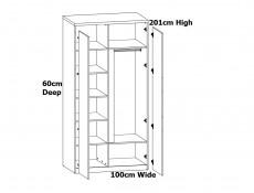 Modern Freestanding 2 Door Double Wardrobe Internal Shelves and Rail White Gloss Oak Effect Finish  - Pori (L87-SZF2D-BIP-KPL01)