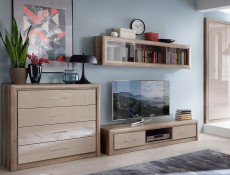 Wide TV Cabinet Stand Unit with 2 Drawers in Beige Gloss and Oak finish - Koen 2