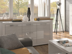 Modern White Gloss Large Sideboard Cabinet Storage Unit with Drawers 150cm - Flames (S428-KOM2D3S-BIP-KPL01)