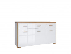 Modern White Gloss & Oak King Size Bedroom Furniture Set - Bari (S332-BEDROOM-SET-_1-BI/DNA/BIP)