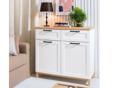 Scandinavian Sideboard Small Cabinet Dresser Chest in White & Oak - Haga (S369-KOM2D2S-BIM/BIC-KPL01)