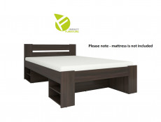 Storage Double Bed Frame in Wenge Dark Wood Finish with Wooden Slats- Nepo
