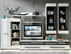 Modern Glazed 1-Drawer Living Room Media Bench TV Cabinet Storage Unit 100 cm White/White Gloss - Fever