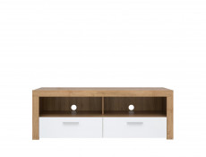 White Gloss & Oak Modern Living Room 3-Piece Furniture Set Storage Display TV Units with LED Light - Balder
