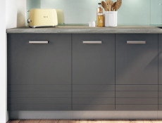 Mocca Dark Grey Kitchen Cabinet Base 30cm Free Standing Cupboard 300 1 Doors Unit Matt Finish - Paula (STO-PAULA-D30-P/L-GR/MOCHA-KP01)