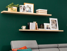 Modern Long Shelf Wall Mounted Floating Wall Shelf Sonoma Oak Effect 143.5cm - Kaspian