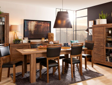 Modern Dining Room Set Extendable Table and 4 Wooden Chairs Black/Oak - Gent
