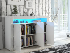 Modern White High Gloss Sideboards Multicolour RGB LED Light Set of 2 Cabinets Display Units - Lily (HOF-LILY3D-LILY2D-BI/BIP-LED-RGB)