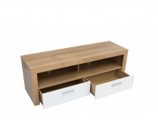 Compact TV Cabinet Unit 2 Drawer Stand White Gloss and Oak finish 135cm - Balder
