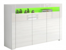 Large White High Gloss Sideboard Modern 3 Door Unit with Display Cabinet Shelf RGB LED Light - Lily
