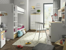 Modern White Gloss & Oak Finish High Double Bunk Bed with Ladder Kids Bedroom Furniture  - Princeton