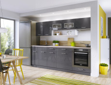 Free Standing Grey Gloss Kitchen Base Cabinet Cupboard 1 Door Unit 30cm 300mm - Modern Luxe (STO-MODERN_LUX-D30-P/L-GREY-KP01)