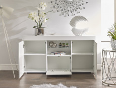 Modern Lowboard Sideboard Glass Display Cabinet Buffet White Gloss RGB LED lights - Lily