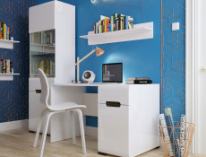 Living Room Display Cabinet & Sideboard Set in White Gloss and White Matt with LEDs - Azteca