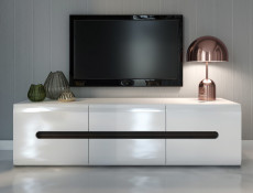 White Gloss Wide TV Stand Cabinet Entertainment 150cm Unit with Wenge/White/Black Gloss Insert - Azteca Trio