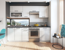 Scandinavian Style Kitchen White Gloss Cabinets Cupboards 7 Unit DIY Kitchen Set  - Roxi