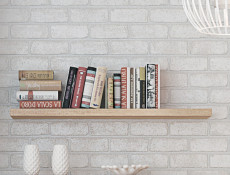 Modern Short Shelf Floating Wall Mounted Design Sonoma Oak Effect Finish 105cm - Kaspian