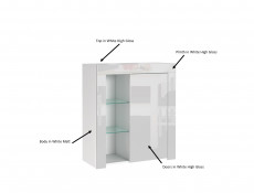 Small White High Gloss Storage Bookcase Modern 1 Door Display Cabinet Unit with Glass Shelving - Lily