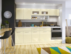 Vanilla Acrylic Cream High Gloss Kitchen Cabinets Cupboards 7 Unit Set with Oven Housing - Modern Luxe