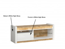 Modern White Gloss Living Room Furniture Set TV Cabinet Sideboard Coffee Table LED Lights Oak finish  - Alameda