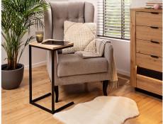 Industrial Narrow Over Arm Side Table Laptop Coffee Table Loft Style Metal Legs Light Oak Effect Finish - Gamla