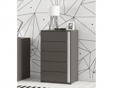 Grey Chest of Drawers Left Kids Bedroom Storage - Graphic (S343-KOM5SL/C-SZW)