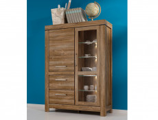 Wide Glass Display Cabinet Oak effect with LED Lights - Gent (S228-REG1W1D2S/16/12-DAST-KPL01)