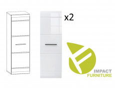 Modern 8-Piece Furniture Living Room Set Storage Cabinet Units White/White Gloss - Fever