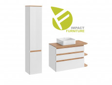 White Gloss & Oak Finish Bathroom Furniture Set: Tall Cabinet & Wall Vanity Unit with Countertop Sink - Platinum