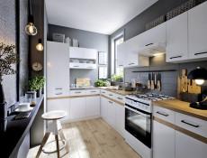 Modern Free Standing Tall Larder Kitchen Cabinet Cupboard Unit 50cm Left White / White Gloss - Junona (K24-D2D/50/195_L-BI/BIP/BIP-KPL01)
