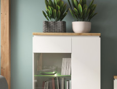 Modern White Gloss / Oak finish Display Cabinet Glass Tall Shelving Unit with LED Light - Erla (S426-REG1D1W1S-BI/DMV/BIP-KPL01 & OPJCA)