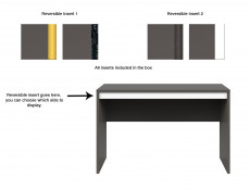 Grey Small Study Desk 120cm Home Office Modern Reversible White Gloss Colour Strip - Graphic