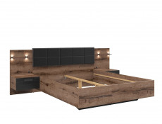 Elegant King Size Bed Frame Built-in Bedside Wall Cabinets USB LED Lighting Oak/Black - Kassel